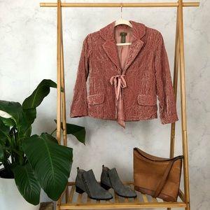 Anthropologie Fei Pink Embroidered Velvet Blazer
